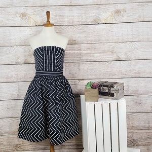 Nadia Nour Strapless Striped Fit and Flare Dress